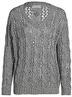 Brunello Cucinelli Women's Paillette Chunky Knit V-Neck Sweater