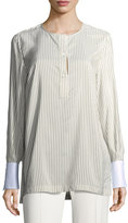 Brunello Cucinelli Striped Silk Blouse w/Oxford Cuffs