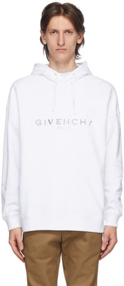 Givenchy White Embossed Logo Hoodie