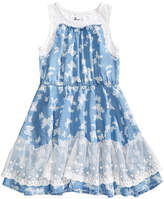 Epic Threads Butterfly-Print Chambray Dress, Little Girls, Created for Macy's