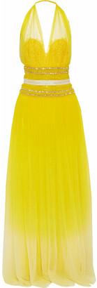 Naeem Khan Embellished Neon Cotton-tulle Halterneck Gown