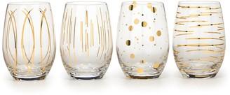 Creative Tops Cheers Metallic Gold Stemless Wine Glasses Set of 4