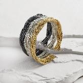 Tricolor Metal Bead Cuff Bracelet