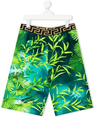 Versace TEEN foliage print shorts