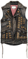 Gucci Studded leather vest with embroidery