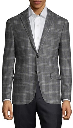 Corneliani Virgin Wool Cashmere Plaid Jacket