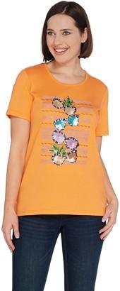 Quacker Factory Summer Splash Embellished Short Sleeve Knit T-Shirt