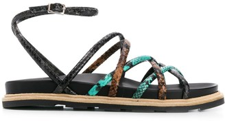 Vic Matié Snakeskin-Effect Flat Sandals