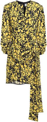 Victoria Victoria Beckham Wrap-effect Printed Crepe Mini Dress
