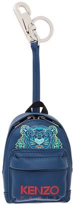 Kenzo Kollector blue leather backpack keyring
