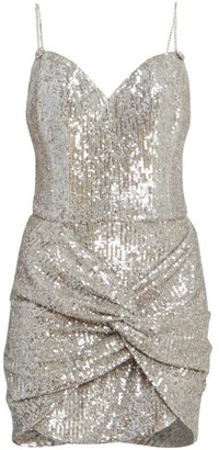 Magda Butrym Knotted Sequin Cocktail Dress