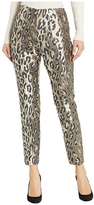 Vince Camuto Leopard Jacquard Side Zip Slim Leg Pants (Rich Black) Women's Casual Pants