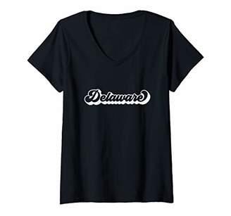 Womens Delaware Retro State V-Neck T-Shirt