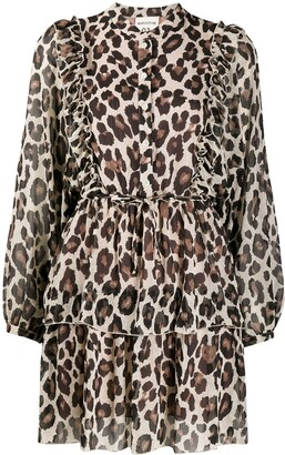 Semi-Couture Leopard Print Tiered Dress