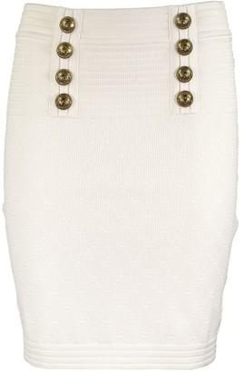 Balmain High-waisted double-buttoned white knit skirt