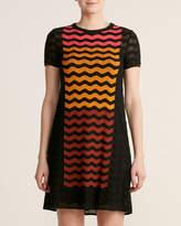 M Missoni Black Zigzag Ombre Wool Knit Dress