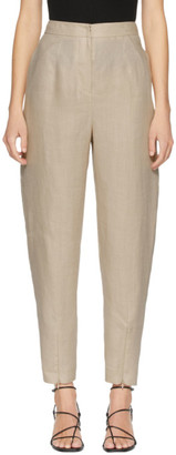 AMOMENTO Beige Linen Structure Trousers