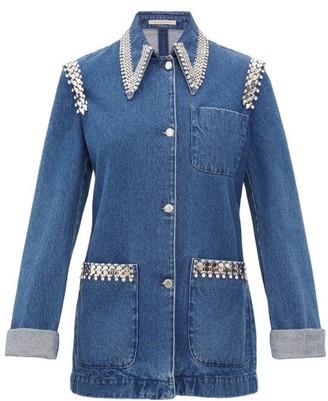 Christopher Kane Crystal-trimmed Point-collar Denim Jacket - Womens - Denim