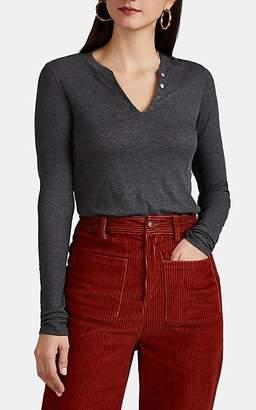 Barneys New York Women's Rib-Knit Long-Sleeve Henley - Charcoal
