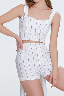 Forever 21 Pinstriped High-Rise Linen Shorts