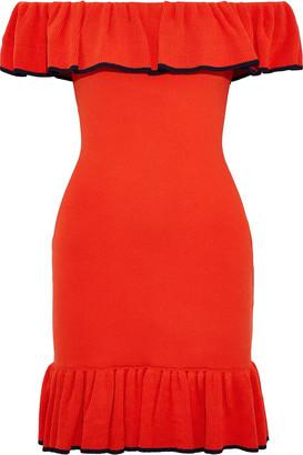 Rebecca Vallance Carpi Off-the-shoulder Ruffled Stretch-knit Mini Dress
