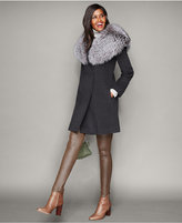 The Fur Vault Fox-Fur-Collar Wool Walker Coat