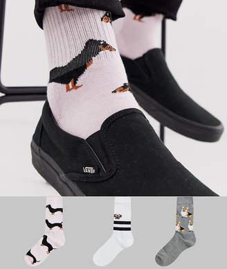 Asos Design DESIGN 3 pack sport sock with dog design save-White