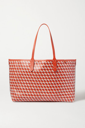 Anya Hindmarch I Am A Plastic Bag Small Leather-trimmed Printed Coated-canvas Tote - Orange