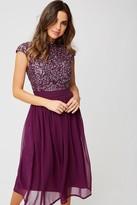 Little Mistress Michelle Plum Sequin Top Midi Dress