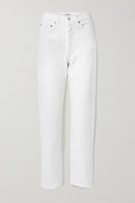 A Gold E Agolde AGOLDE - '90s Frayed Mid-rise Straight-leg Jeans - Off-white
