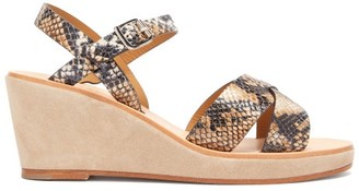 A.P.C. Judith Python-embossed Leather Wedge Sandals - Womens - White Multi