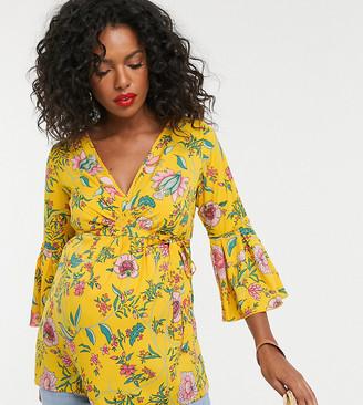 Mama Licious Mamalicious floral peplum sleeve blouse