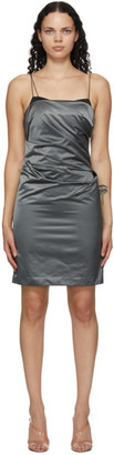 Helmut Lang Grey Satin Evening Mini Dress