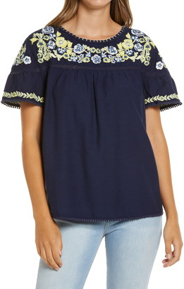 Caslon Embroidered Yoke Top