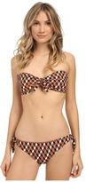 Michael Kors Deco Hexagon Tie Front Bandeau w/ Cups and Side Tie Bottoms