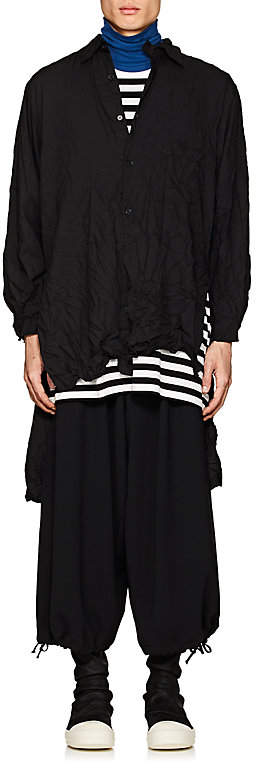 Yohji Yamamoto Men's Logo-Back Wrinkled Twill Long Shirt