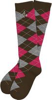 Argoz Socks Chocolate Tart - Knee High Argyle Socks - Brown, Heather Grey, Raspberry