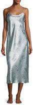 Natori Wisteria Long Silk Nightgown, Blue Pattern