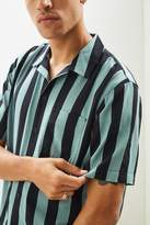 Urban Outfitters Wide Bar Stripe Rayon Short Sleeve Button-Down Shirt