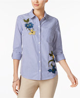 Charter Club Embroidered & Striped Cotton Shirt, Created for Macy's
