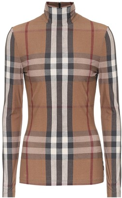 Burberry Checked stretch-jersey turtleneck top