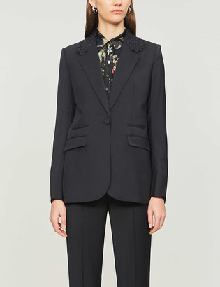 The Kooples Single-breasted lace-trimmed wool blazer
