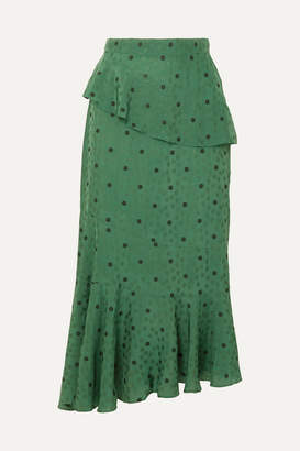 ALEXACHUNG Ossie Tiered Floral-jacquard Peplum Midi Skirt - Dark green