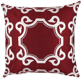 "Avon Red Embroidered Medallion Throw Pillow - 20""x20"""