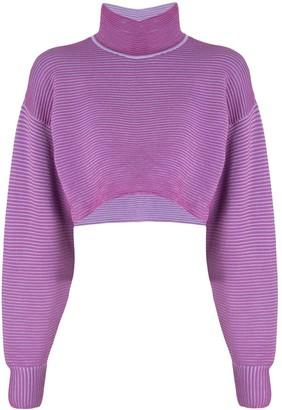 NAGNATA Cropped Rib-Knit Sweatshirt