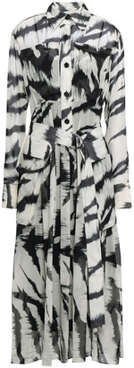 Joseph Seldon Belted Zebra-print Silk-georgette Midi Dress