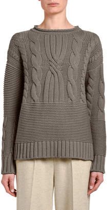 Agnona Mixed Cable-Knit Cashmere Sweater