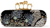 Alexander McQueen Knuckle Embellished Velvet Clutch - Black