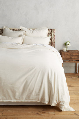 Anthropologie Relaxed Cotton-Linen Duvet Cover By in Beige Size QN TOP/BED