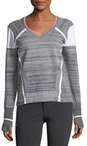 Blanc Noir Compete V-Neck Mixed-Knit Pullover